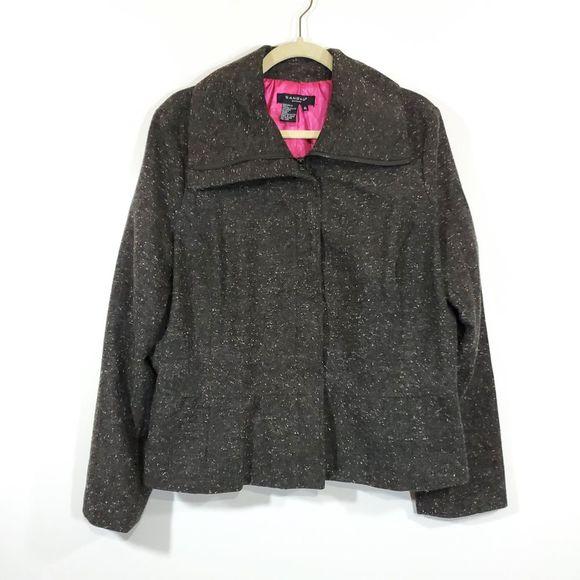 Sandro Sportswear Tweed Peplum Mock Neck Jacket
